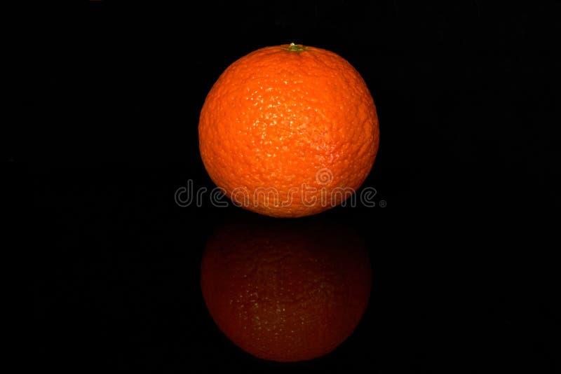 与反射的新鲜的水多的蜜桔在黑色 图库摄影