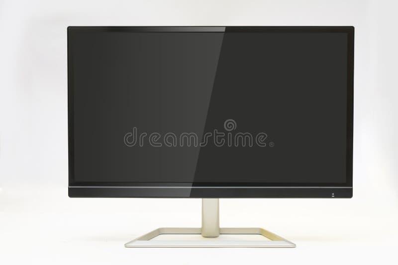 与反射的现代显示器在屏幕白色背景 库存图片