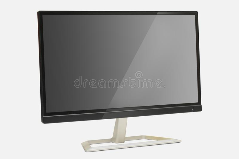 与反射的现代显示器在屏幕白色背景 免版税库存图片