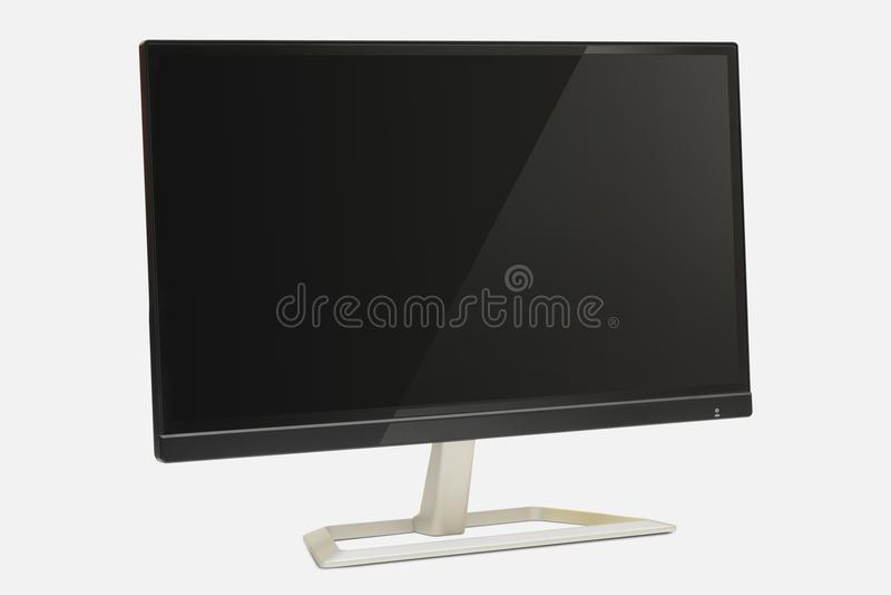 与反射的现代显示器在屏幕白色背景 库存照片