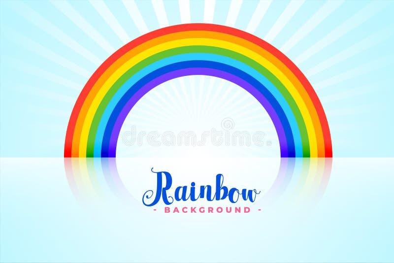 与反射的被成拱形的彩虹背景 向量例证