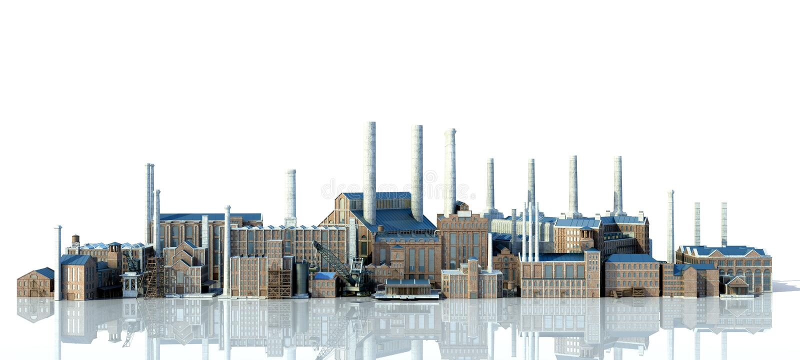 与反射3d翻译图象的老工厂厂房在白色 库存例证