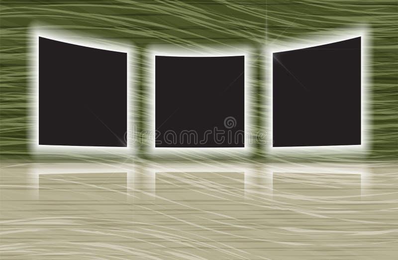 与反映的三个发光的照片框架 向量例证