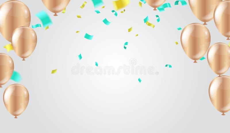 与发光五颜六色的气球的抽象背景 生日、党、介绍、销售、周年和俱乐部设计 皇族释放例证