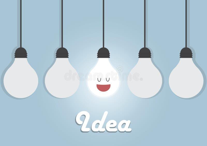 与发光的一个的垂悬的电灯泡 库存例证
