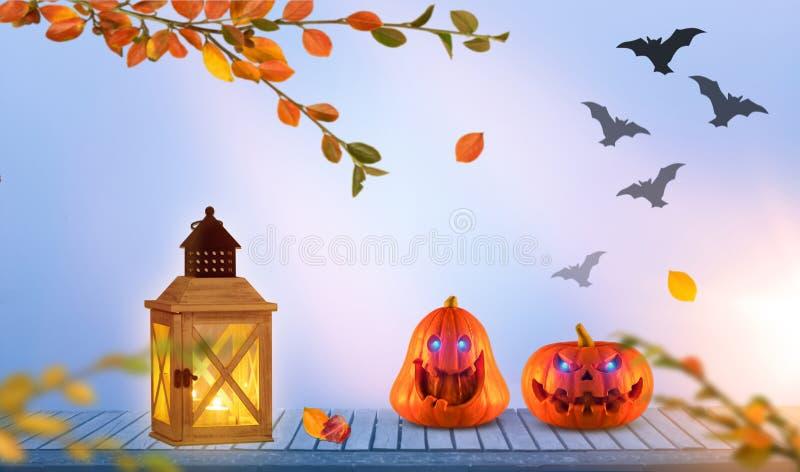 与发光的两个滑稽的可怕橙色万圣夜南瓜在背景中注视与灯笼的onh木头有棒的 向量例证