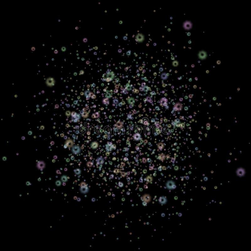 与发光的五颜六色的圆环的抽象样式在黑色 皇族释放例证