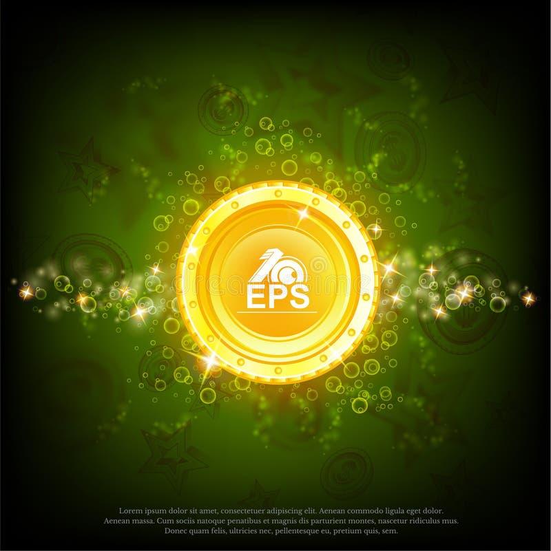 与发光的作用的大金币对抽象绿色背景 皇族释放例证