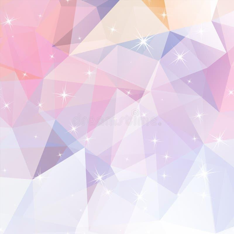 与发光的元素的多角形抽象几何背景 皇族释放例证