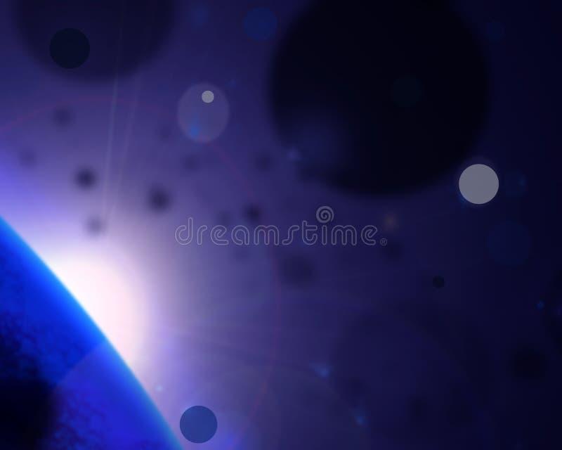 与发光的元素的抽象深蓝背景 库存例证
