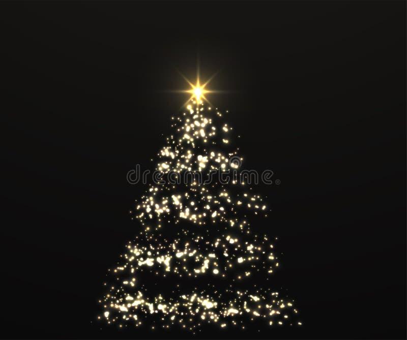 与发光的光的圣诞节发光的金黄树在黑暗的抽象背景 向量例证