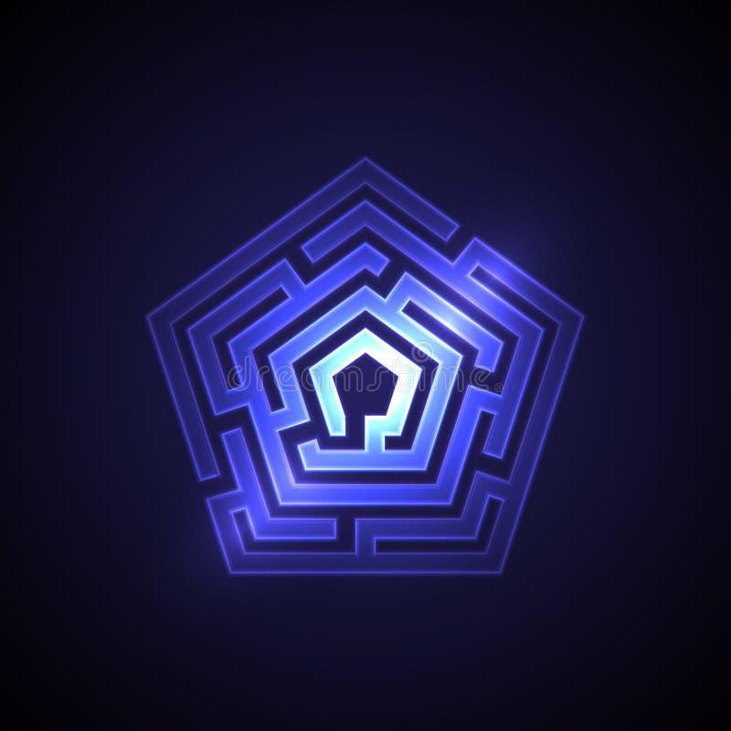 与发光的光的抽象迷宫背景 皇族释放例证
