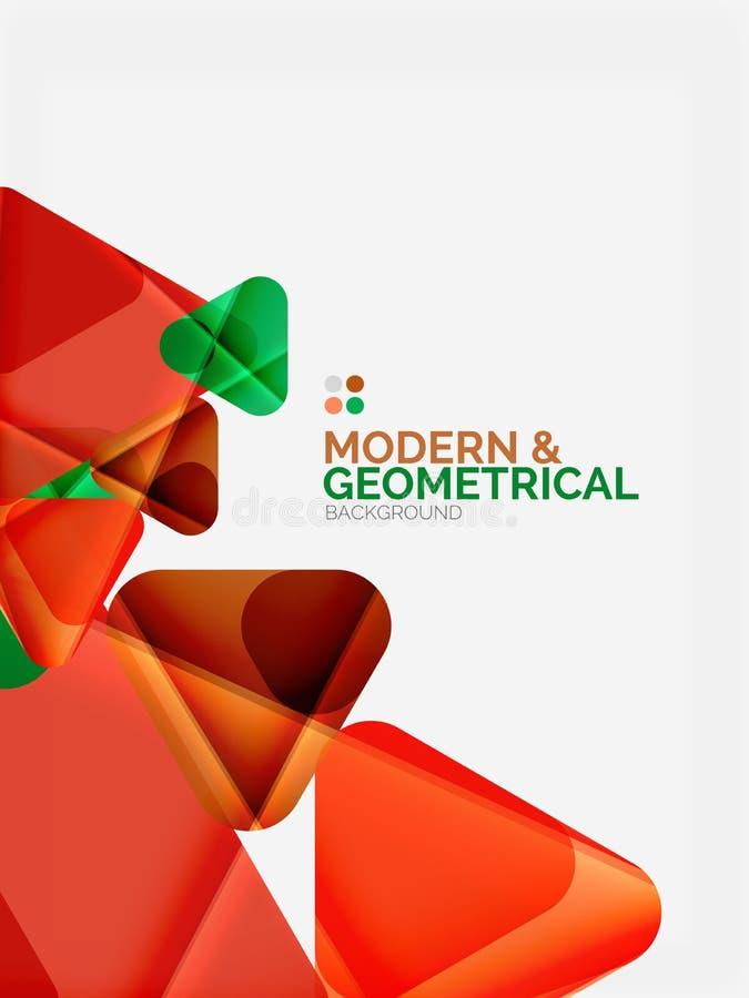 与发光的光滑的作用的现代五颜六色的几何三角与样品发短信 向量例证