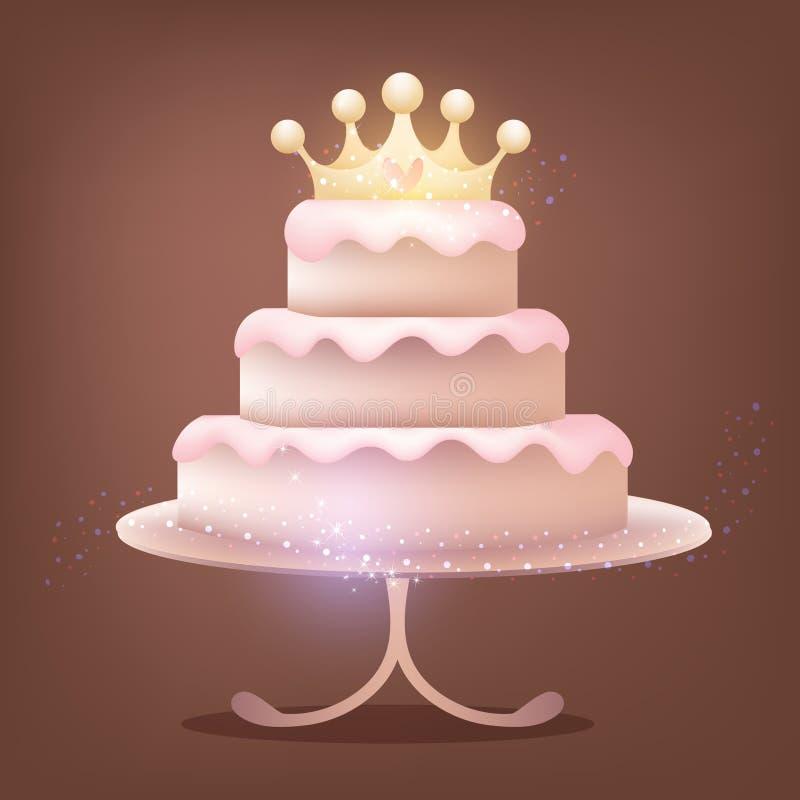 与发光的冠的巧克力蛋糕