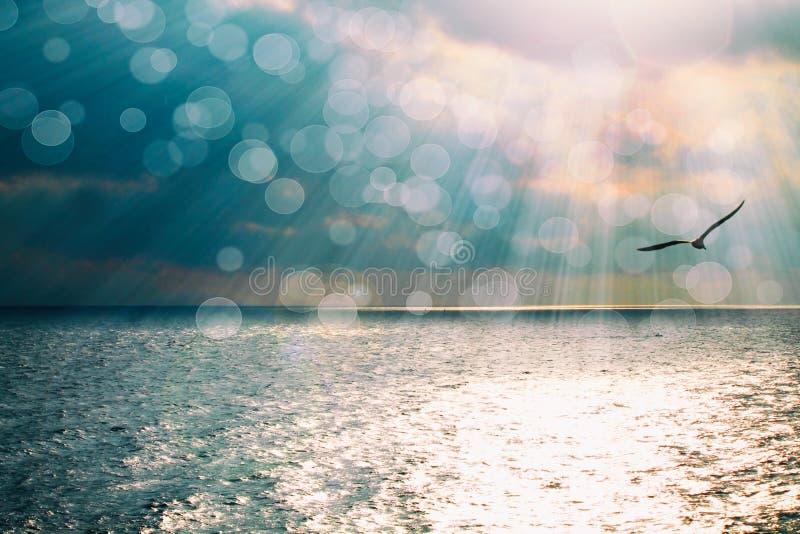 与发光的反射的美好的海景在海蓝色水和太阳发出光线 库存照片