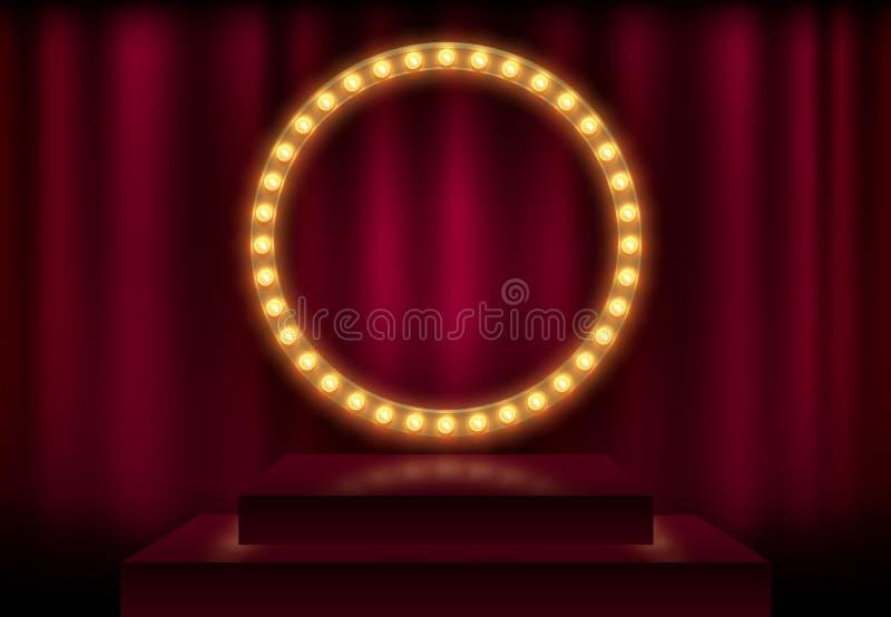 与发光的发光的电灯泡的圆的框架,传染媒介例证 在红色帷幕背景和阶段指挥台的光亮的党横幅 皇族释放例证