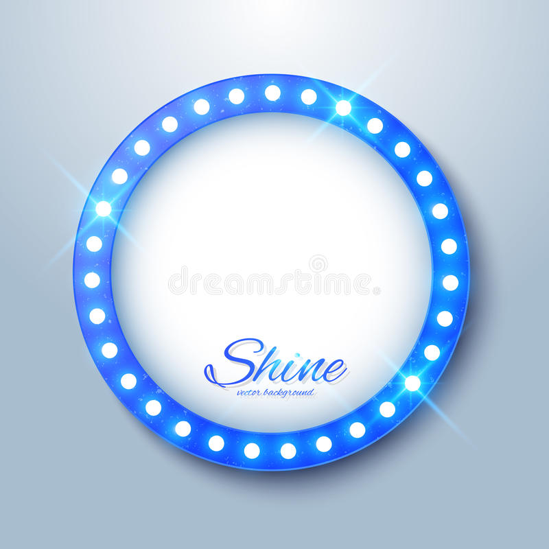 与发光的发光的电灯泡的空白的牌 皇族释放例证