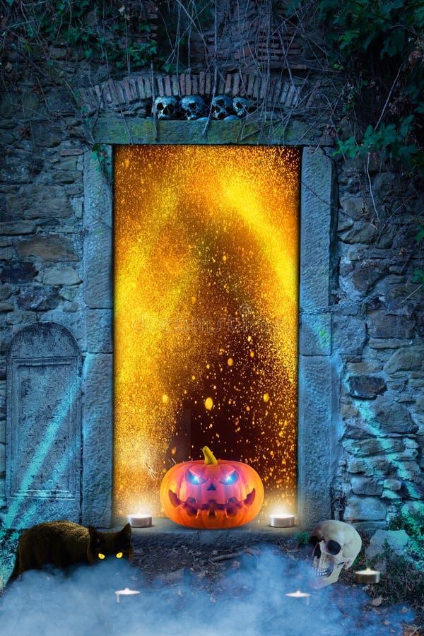 与发光的可怕橙色万圣夜南瓜在地狱` s门前面注视 库存例证