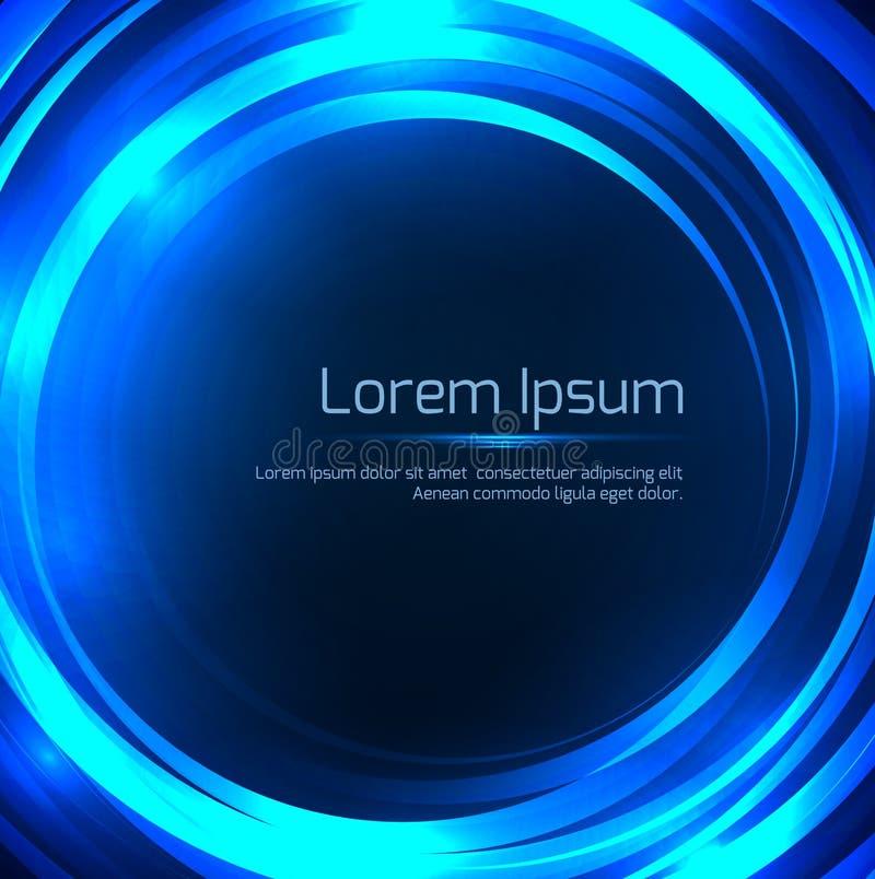与发光的圆框架的方形的蓝色例证 向量例证