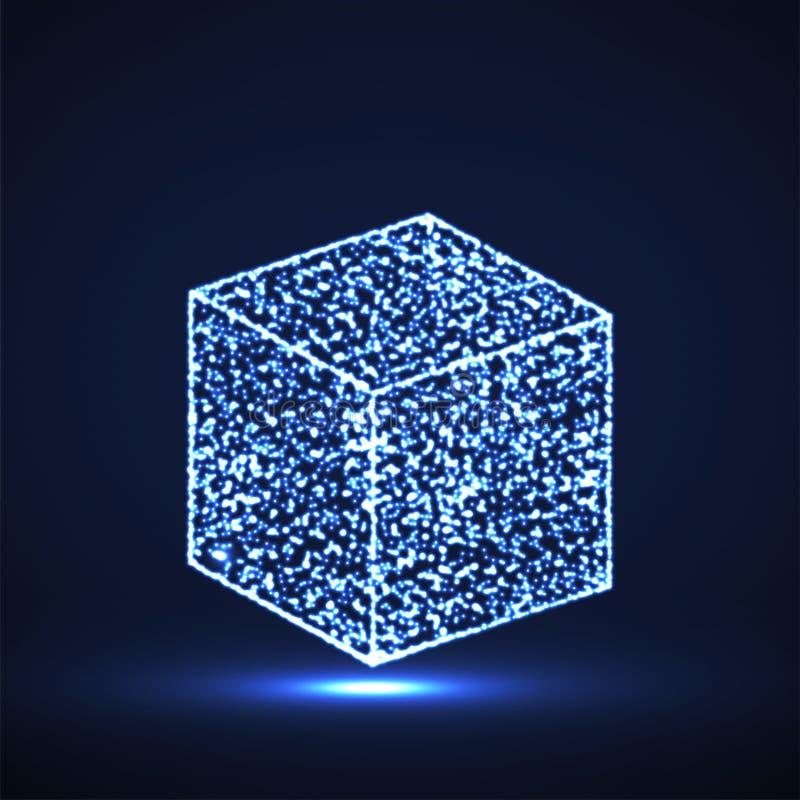 与发光的微粒的抽象立方体 库存例证