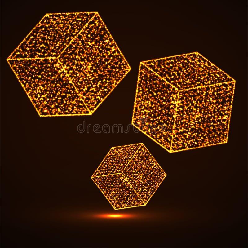 与发光的微粒的抽象立方体 向量例证
