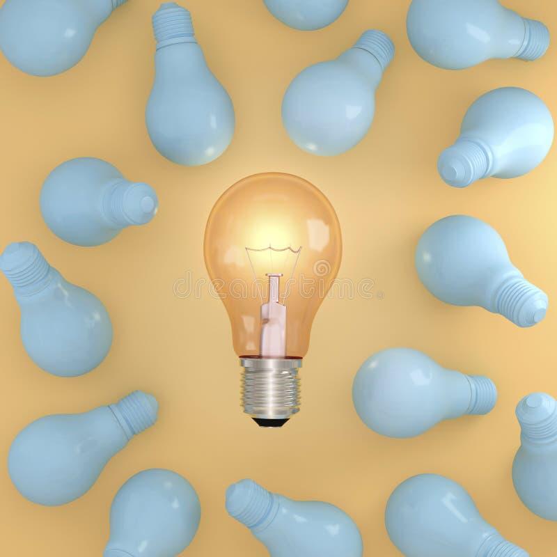 与发光的想法卓著的橙色光电灯泡在黄色淡色背景的蓝色电灯泡围拢的中部 免版税库存图片