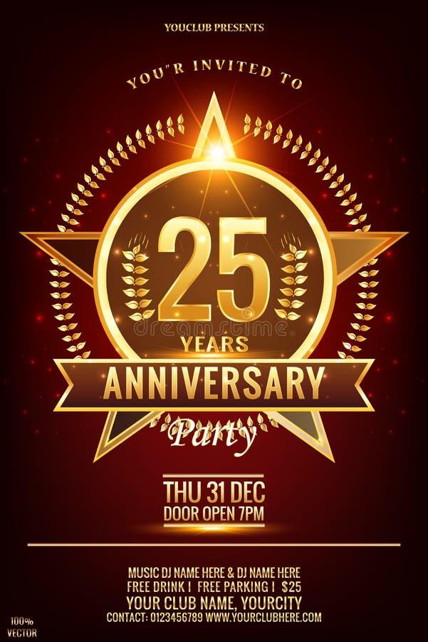 25与发光的星的周年典雅的金子色的商标 皇族释放例证