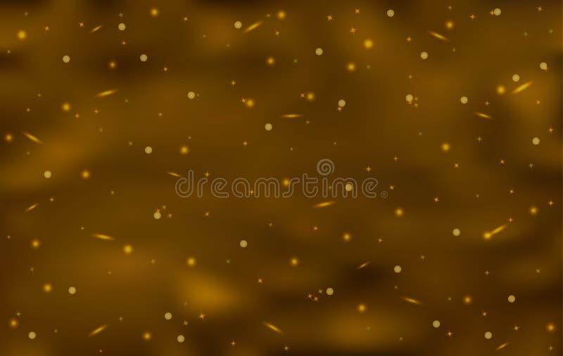与发光的星的布朗艺术抽象背景 免版税库存照片