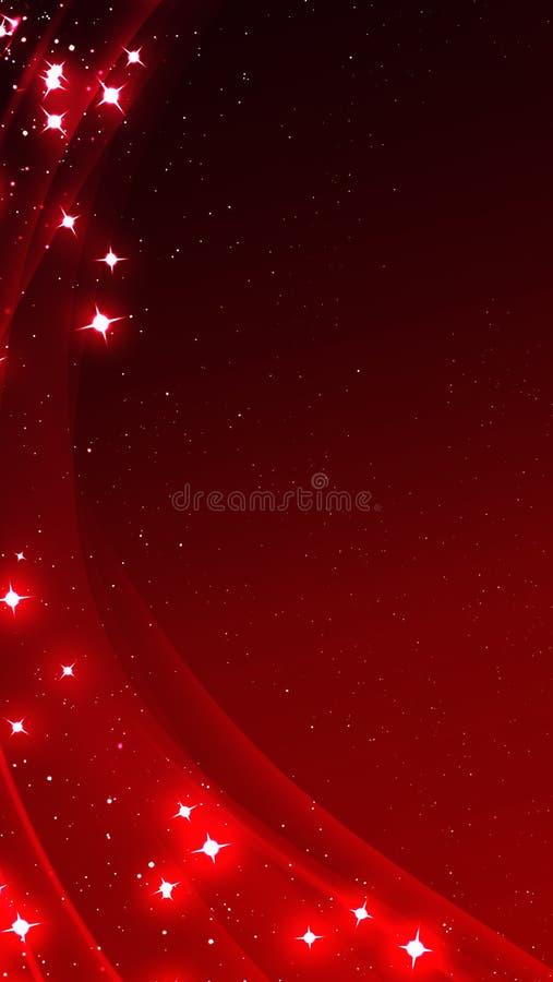 与发光的星的红色抽象背景 您的流动显示的背景 库存例证