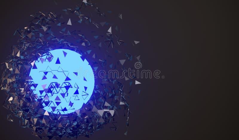 与发光的核心的爆炸的球形 皇族释放例证