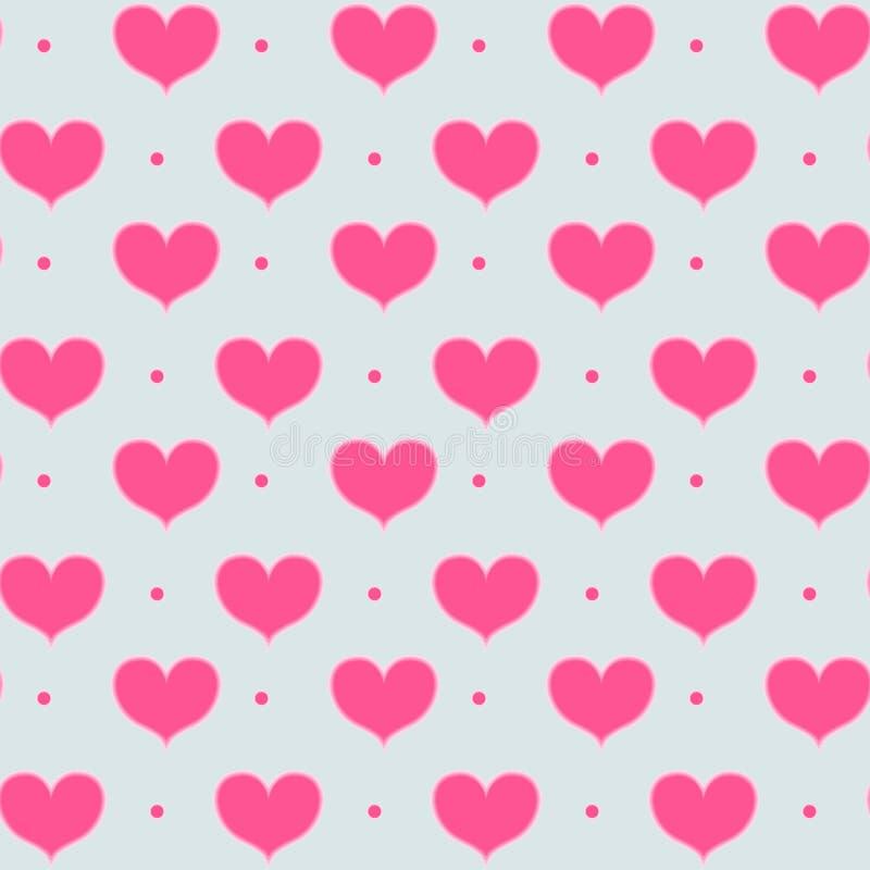 与发光的桃红色心脏的传染媒介无缝的样式 与心脏和小点的样式 背景对天圣徒华伦泰 向量例证