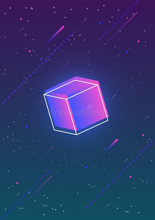 与发光的梯度的抽象垂直的背景上色了立方体和它的概述反对华美的夜空有很多星 库存例证