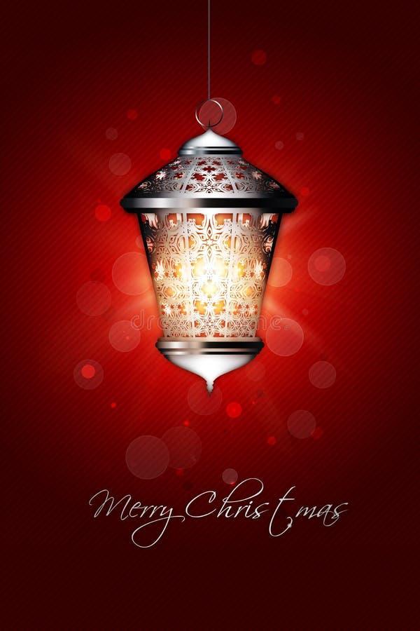与发光的灯笼的圣诞节背景 皇族释放例证