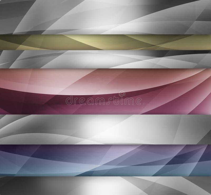 与发光的灰色和白合金条纹的抽象银色蓝色黄色和桃红色背景设计上色与相交的线a 皇族释放例证