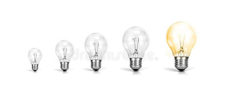与发光的电灯泡一成长的电灯泡在白色backgrou的 免版税图库摄影
