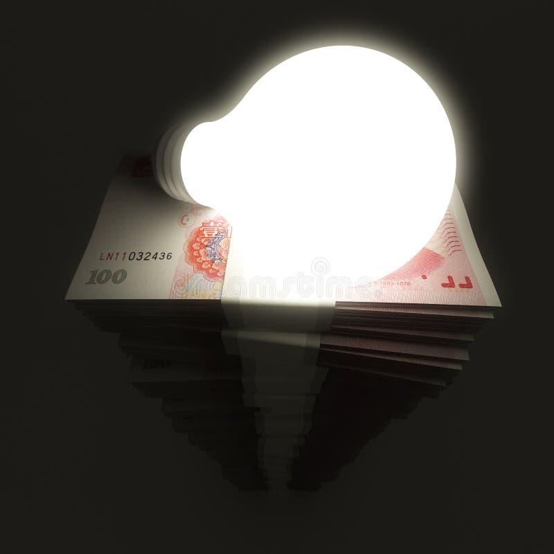 与发光的电灯泡的人民币堆 皇族释放例证