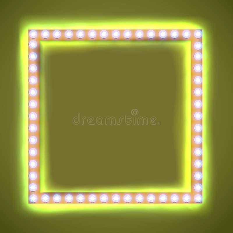 与发光的电灯泡的方形的框架 皇族释放例证