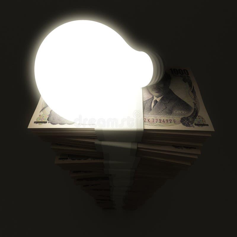 与发光的电灯泡的日元堆 皇族释放例证