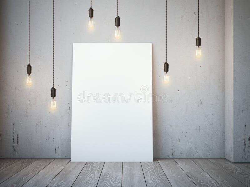 与发光的电灯泡的空白的白色帆布在顶楼内部 免版税库存图片