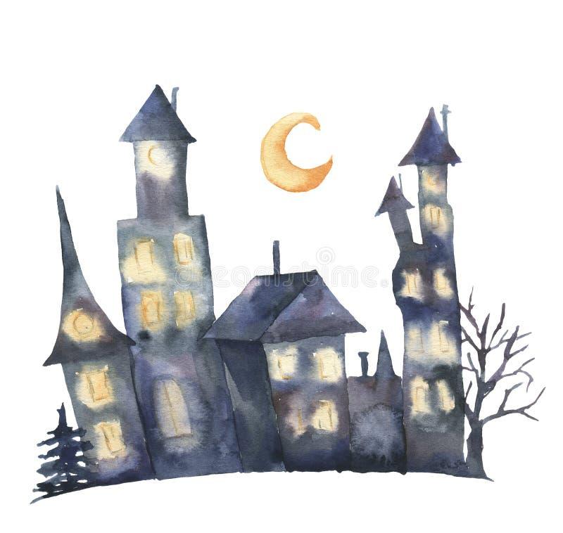 与发光的窗口和月亮的水彩城堡 在白色背景隔绝的手画不可思议的Helloween例证 向量例证