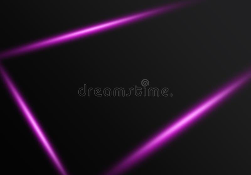 与发光的紫色光芒激光框架的抽象黑背景 库存例证