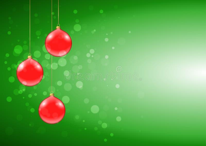 与发光的红色中看不中用的物品的绿色圣诞卡 库存例证