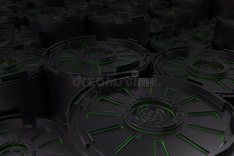 与发光的线的黑暗的未来派技术背景 皇族释放例证