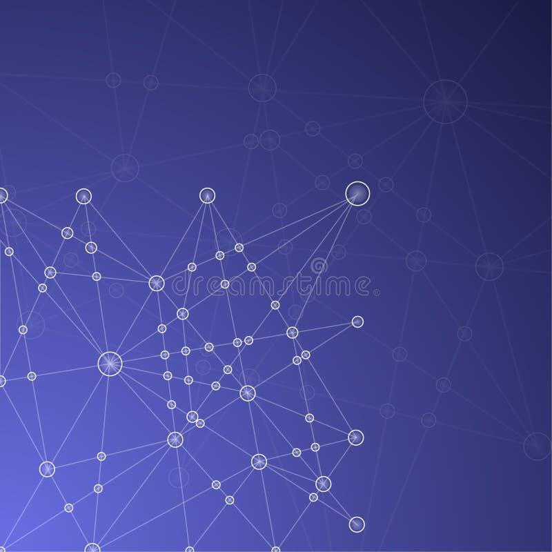 与发光的线,圈子和嘘蓝色抽象滤网背景 皇族释放例证