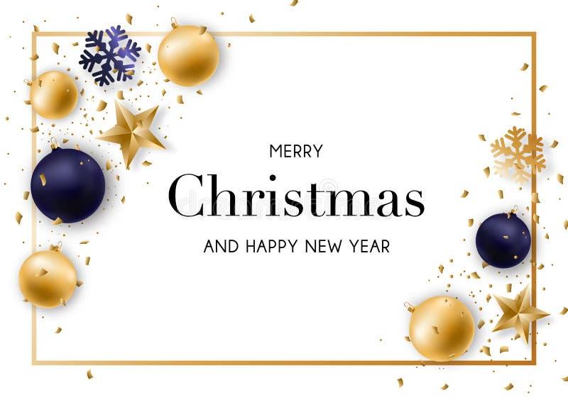 与发光的金黄和蓝色球、蛇纹石和五彩纸屑的圣诞快乐和新年背景 向量例证