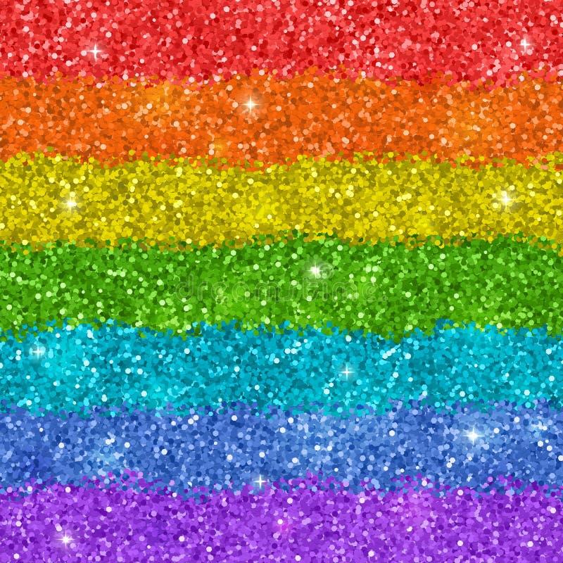 与发光的闪烁纹理的彩虹背景 向量 皇族释放例证