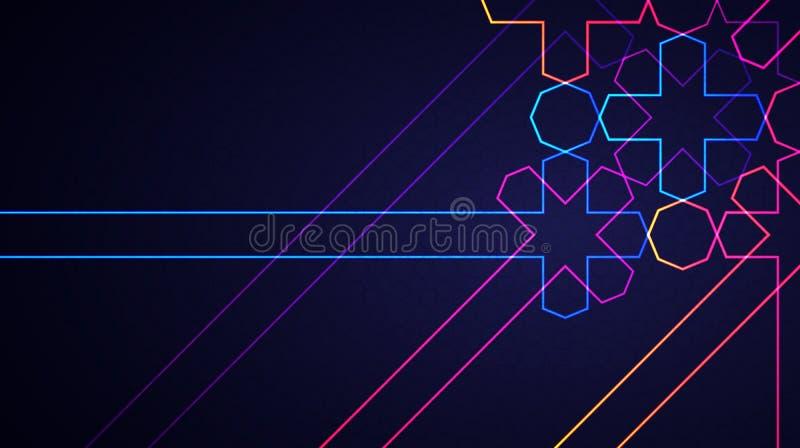 与发光的霓虹几何伊斯兰教的样式的Eid穆巴拉克抽象轻的背景 向量例证