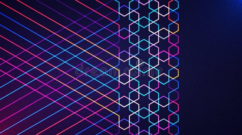 与发光的霓虹几何伊斯兰教的样式的Eid穆巴拉克抽象轻的背景 库存例证