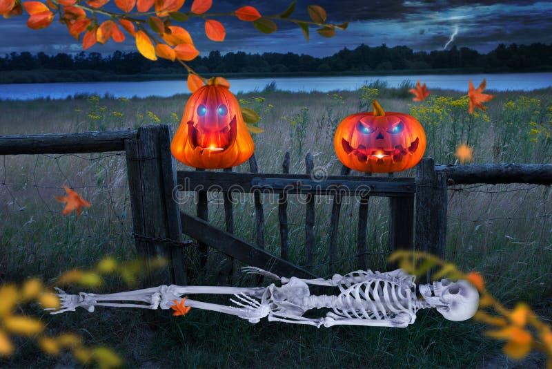 与发光的鬼的橙色万圣夜南瓜在草甸前面注视 Skeletton在地面上说谎 库存图片