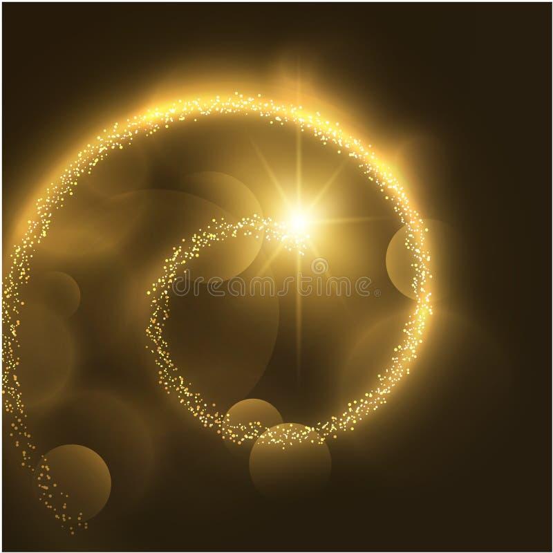 与发光的bokeh的金黄螺旋假日传染媒介背景 EPS10 皇族释放例证